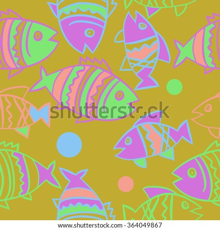 Composition of  seamless pattern, doodles, fishes, zigzag,spots, hole. Hand drawn.