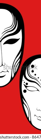 Composition of two human masks - stock vector