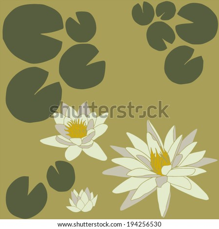 Composition of water lilies with leaves - stock vector