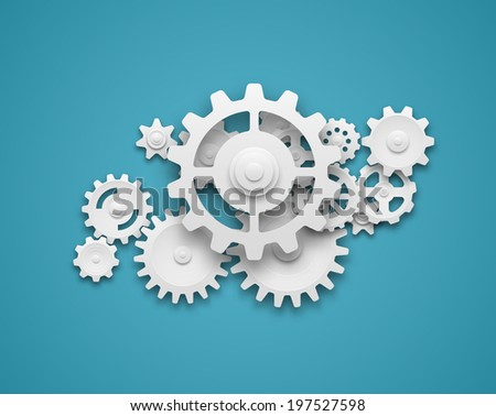 Composition of white gears symbolizing cooperation and teamwork. EPS10 vector. - stock vector
