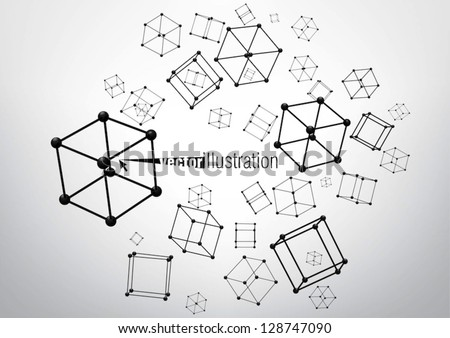 Composition of wire-frame elements in the form of cube with vertices in different perspective - stock vector