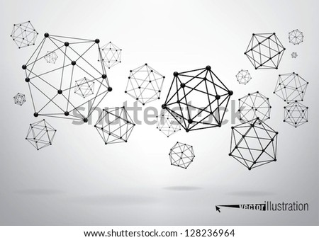Composition of wireframe elements in the form of icosahedron with vertices in different perspective - stock vector