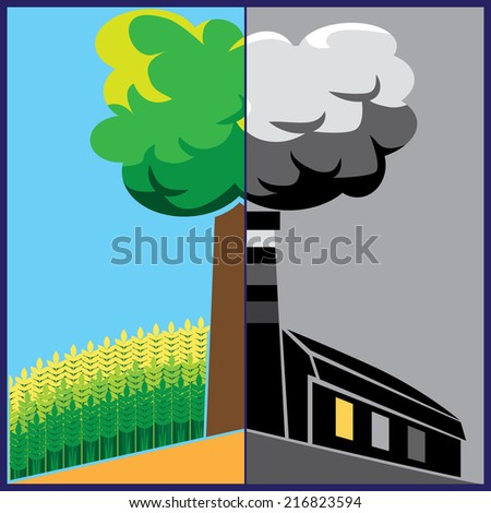 composition on social issues of ecology and industrialization - stock vector