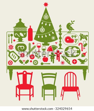 Composition with Christmas dinner table, festive food and Christmas tree. - stock vector
