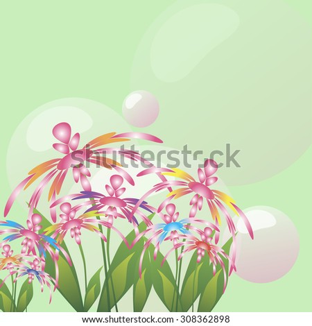 composition with colorful flowers, leaves, transparent sphere on a green background