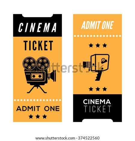 Composition with decorative cinema tickets. Cinema related illustration for web, flyers, print design. - stock vector