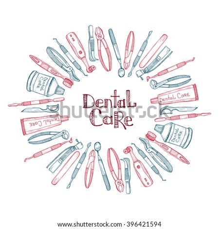 Composition with dentist tools and dental care tools. Vector hand drawn dental collection - stock vector