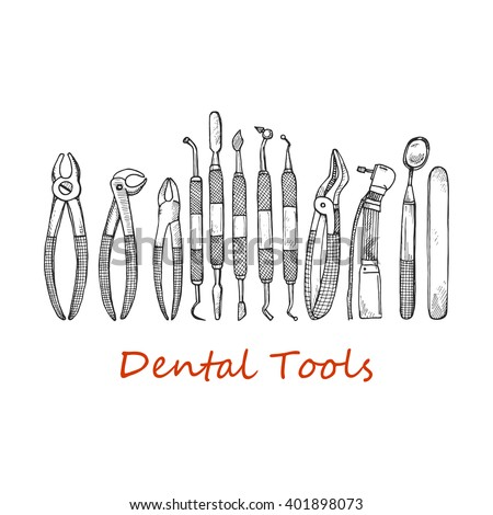 Composition with dentist tools and dental care tools. Vector hand drawn dental collection