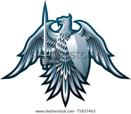 Composition with eagle, sword and badge on black background.