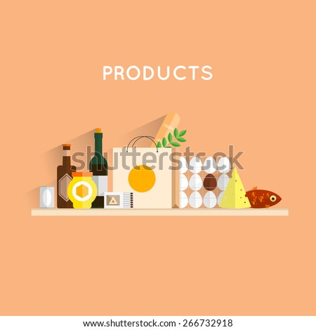 Composition with food products. Food, meals, drinks and fish. Flat design. Vector illustrations. - stock vector