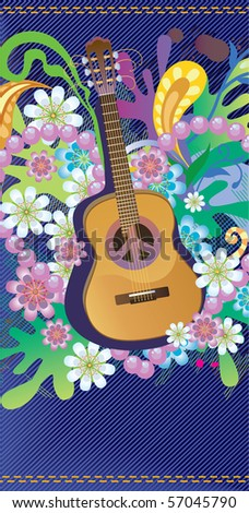 Composition with guitar, flowers and symbol of peace - stock vector