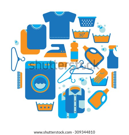 Composition with laundry and washing symbols in a shape of circle. - stock vector