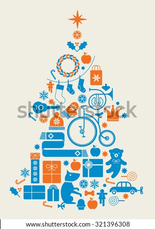 Composition with silhouette of Christmas tree made of seasonal gifts, toys, music instruments and crystal balls.