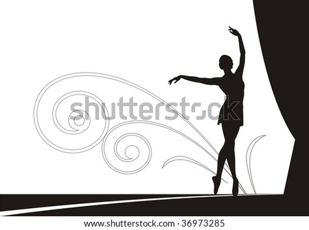 Composition with the dancing ballerina. She dances on a theatre scene. On a distance shot the ornament from spirals is located. - stock vector