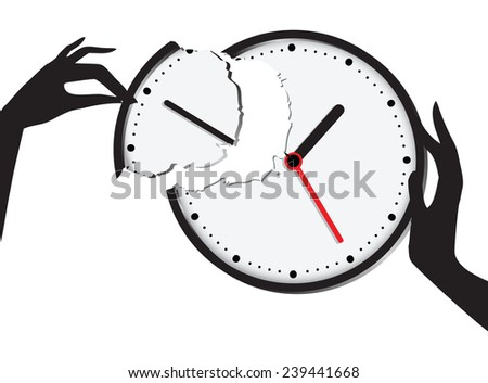 Compound broken clock - the union of time and effort. Vector illustration.