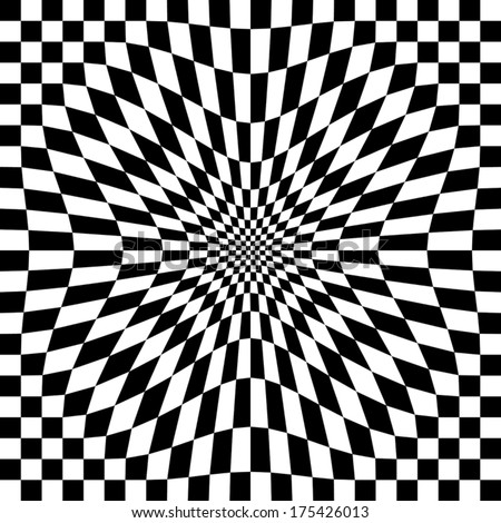 Compressed Optical Check  Abstract checkerboard pattern in black and white repeats seamlessly.