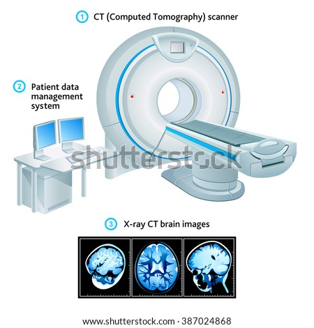 Computed Tomography scanner, workplace and X-ray images - stock vector
