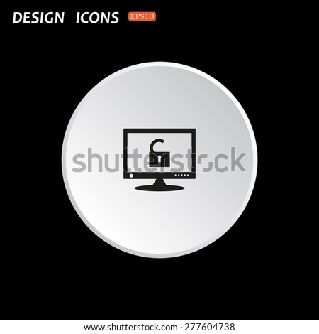 Computer access is open. icon. vector design - stock vector