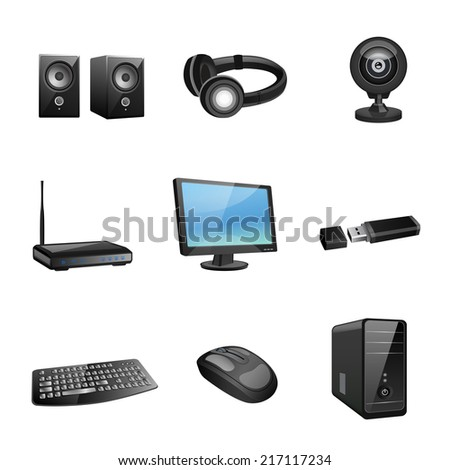 Computer accessories and peripheral black icons set isolated vector illustration - stock vector