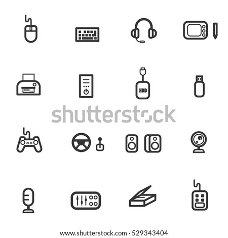computer accessories icon set vector