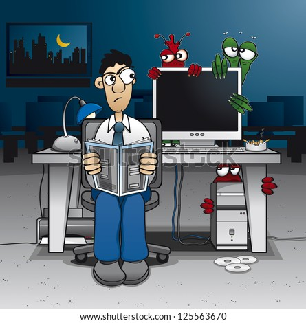 computer administrator having trouble with some ugly viruses - stock vector