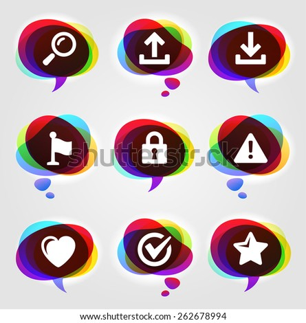 Computer Alerts with Internet Search and Bookmark Tools on Colorful Speech Bubbles - stock vector