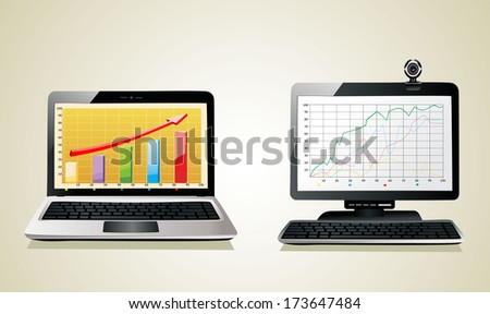 computer and a laptop with business charts - stock vector