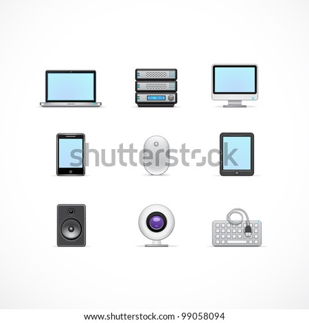 Computer and accessories icons set - stock vector