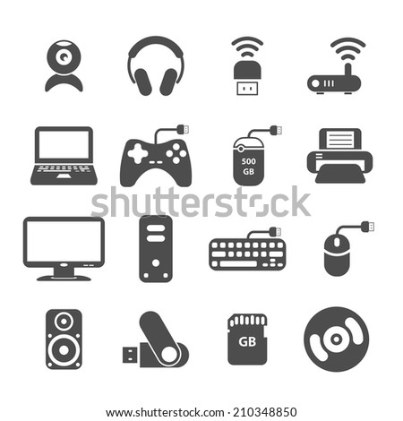 computer and accessory icon set, each icon is a single object (compound path), vector eps10