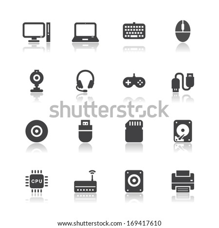 Computer and and Computer Accessories Icons with White Background - stock vector