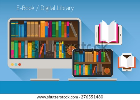Computer and books, E-Book and Digital Library Concept, Education, School Online, E-Learning, Study - stock vector