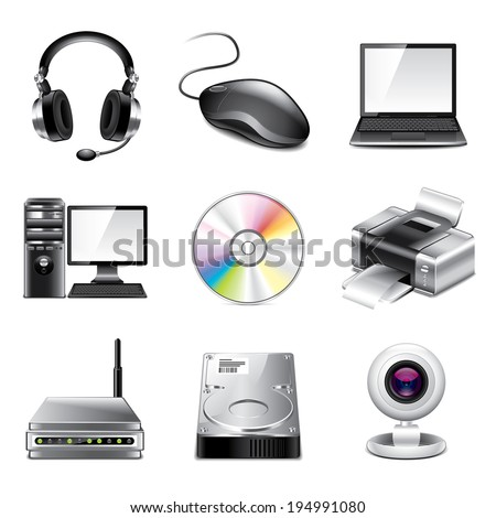 Computer and devices icons high detailed vector set - stock vector
