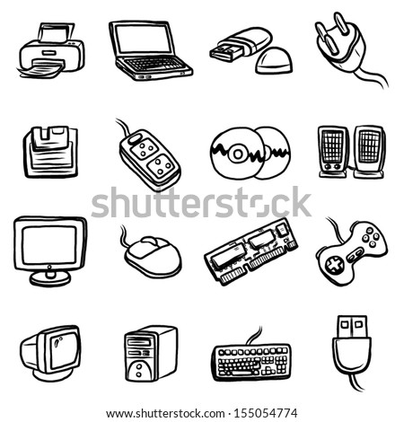 computer and hardware objects or icons set / 16 objects, cartoon vector and illustration, hand drawn, sketch style, isolated on white background. - stock vector