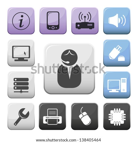 Computer and internet support buttons set - stock vector