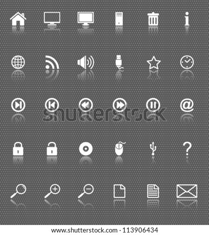 computer and internet web icons set with reflection on dark background - stock vector
