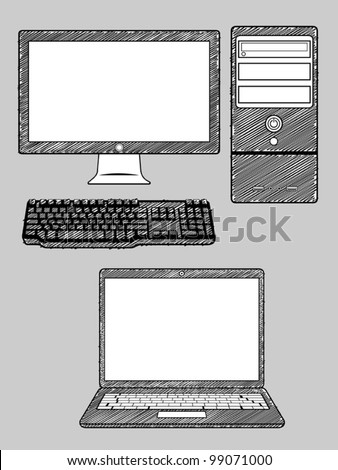Computer and Laptop - stock vector