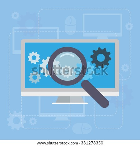 Computer and Magnifying glass search network concept illustration - stock vector