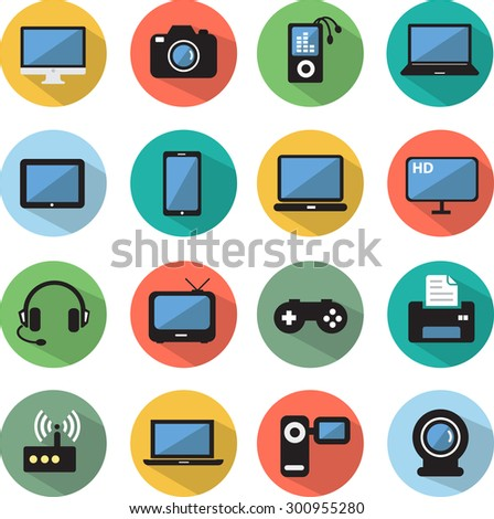 Computer and Mobile Devices flat icon set - stock vector