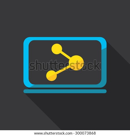 Computer and network. Flat icon design. - stock vector