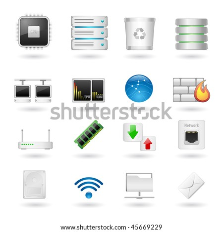 Computer and Network Icon Set. Vector Illustration. - stock vector