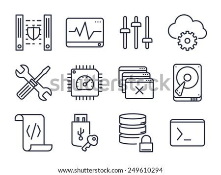 Computer and Network Icons Set 02 // Lines - stock vector