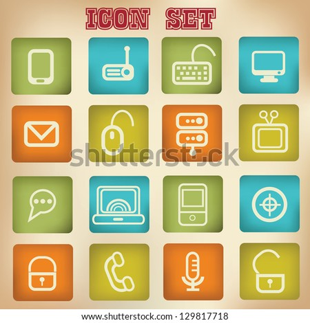Computer and network,web icons,vector - stock vector