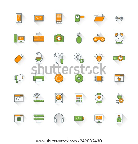 Computer and technology flat design icon set. Mobile phone, printer, computer, keyboard, router - stock vector
