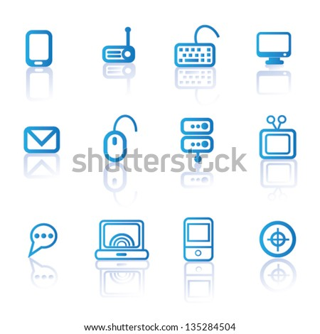 Computer and technology icon set,vector - stock vector