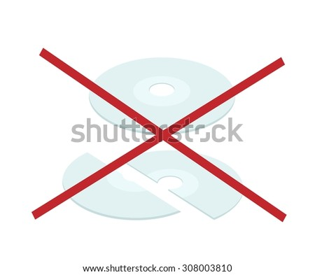 Computer and Technology, Lots Data of Broken CD, DVD or Blu-Ray Disc Isolated on White Background. - stock vector