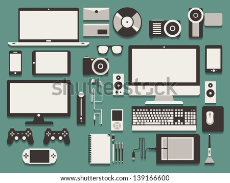 computer and technology vector background - stock vector