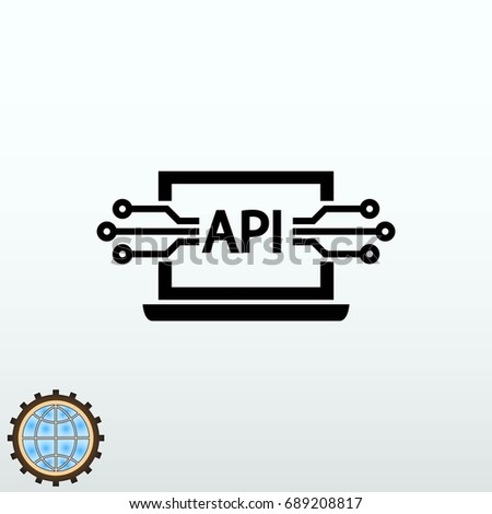 computer api interface icon, vector illustration. Flat design style.