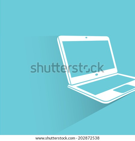 computer, blue shadow and flat theme - stock vector