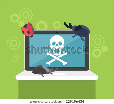 Computer bug. Flat vector illustration - stock vector