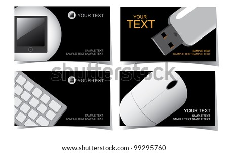 Computer Business Card Set EPS 8 vector, grouped for easy editing. No open shapes or paths. - stock vector